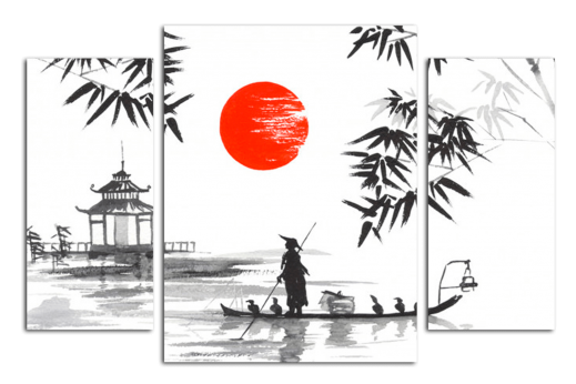 Модульная картина Япония. Рыбак